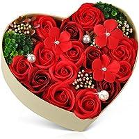 敬老の日 ハートフラワー形状ギフトボックス バラ型ソープフラワー 誕生日 母の日 記念日 先生の日 バレンタインデー 昇進 転居など最適としてのプレゼント