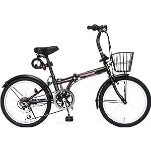 ジェフリーズ 自転車 折りたたみ自転車 20インチ AMADEUS マットブラック サクラ シマノ6段変速 前後泥除け/カゴ/LEDライト/ワイヤーロック標準装備