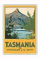 タスマニア - 南のスイス - マウント Ida, 湖 St. Clair - ビンテージな世界旅行のポスター によって作成された ハリー・ケリー c.1940 - アートポスター - 33cm x 48cm