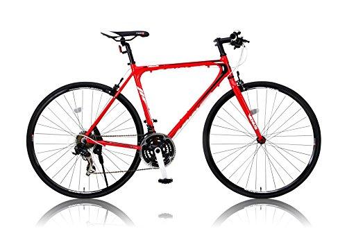 カノーバー クロスバイク 700C シマノ21段変速 CAC-021 (VENUS) 特殊加工 アルミフレーム フロントLEDライト付 レッド