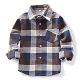 (オチェーンタ)OCHENTA 子供用 ボーイズ ガールズ 男の子 女の子 長袖 チェック柄 カジュアル シャツ キッズシャツ チェックシャツ ワイシャツ Yシャツ E003 コーヒー 100CM