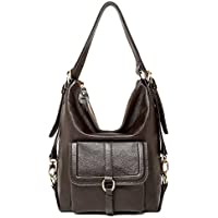 SEALINF Womens Top Handle Leather Shoulder Bag Convertible Backpack with Front Flap