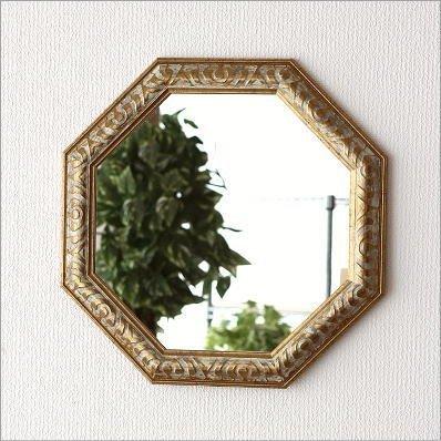 八角形ミラー 壁掛けミラー 壁掛け鏡 玄関 リビング アンティークなミラー 八角 [uwr5025]