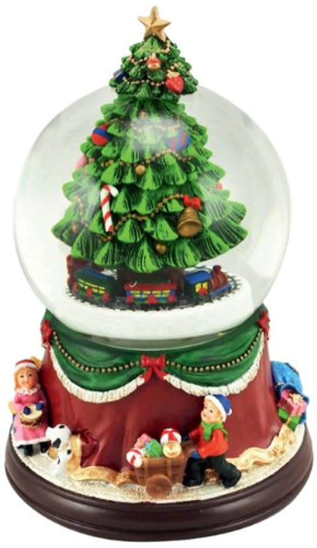 Musicbox Kingdom 53076 Snow Globeクリスマスツリーwith Train音楽ボックス、Plays 8異なるクリスマスMelodies