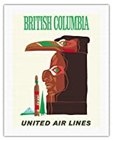 ブリティッシュコロンビア - インドのトーテム - ビンテージな航空会社のポスターc.1960s - キャンバスアート - 51cm x 66cm キャンバスアート(ロール)