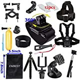 EMBEST Basic Common Accessory Bundle Kit for GoPro Session 5/ GoPro Hero 7/GoPro Hero 6/GoPro Hero 5/GoPro Hero 4/Hero 3+/3/2/HD Xiaomi Yi Mijia Apeman A80 A70 Action Camera Accessory Kit Outdoor Essential Kit