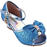 Wangwang Kids Girls Sequin Sandals Princess Crystal High Heels Shoes