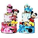 オムツケーキ 出産祝い ディズニー disney 名入れ刺繍 3段 おむつケーキ ぬいぐるみ (パンパースパンツタイプLサイズ, 女の子向け(ピンク系))