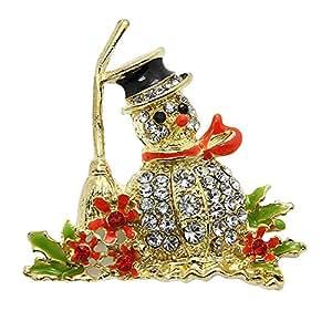 YideaHomeキラキラ クリスマスカラー ブローチ (雪だるま)