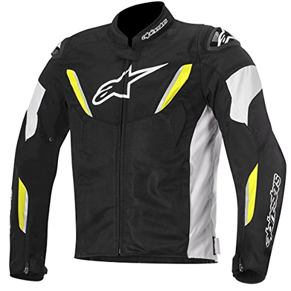 男性ファンネルウェブスパイダー居心地の良いAlpinestars T-GP R Air メンズ 通気性のあるテキスタイルジャケット ブラック/ホワイト/イエロー LG