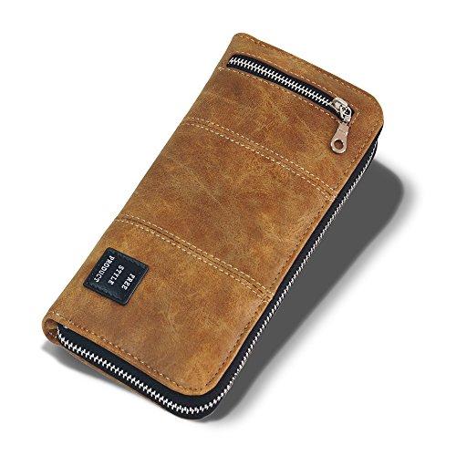 PANDORA(パンドラ) 長財布 メンズ ラウンドファスナー 財布 取り出しやすい 改良版 小銭入れ カード14枚収納 全3色 【正規品】 PW-013 (CAMEL)