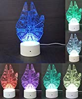 Easyinsmile 3D LEDナイトライト スターウォーズミレニアムファルコンランプ お部屋の飾りギフト マルチ7色チャージボタン LEDデスク/テーブルライト ランプ 寝室用