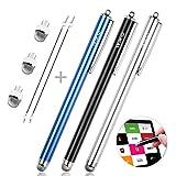MEKO タッチペン スマホ タブレット iPad iPhone Android対応 7mm導電繊維ペン先 スタイラスペン 交換ペン先3個+3本スタイラスペン タッチスクリーン対応(ブラック/シルバー/ブルー)