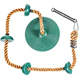 Soarin Supply Co..... Climbing Rope for Kids with Foot Hold Platforms and Disc Swing Seat    Swing Set Attachment Accessory