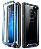 i-BLASON Samsung Galaxy S9 ケース 液晶画面フィルム付き 全面保護 クリアケース [Ares Series] (Galaxy S9, 黒/ブルー)