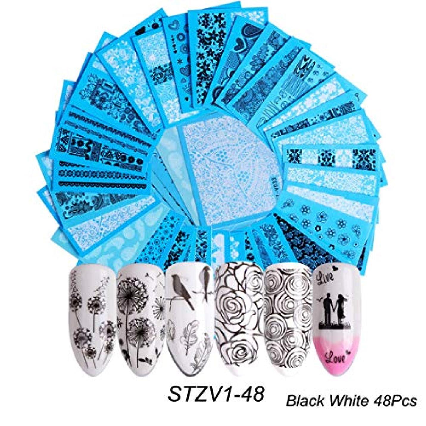 宿題をする経歴トリッキー(STZV1-48) 48枚セット黒と白の花 ネイルシール ウォーターネイルシール 爪に貼るだけ ネイルデコレーション