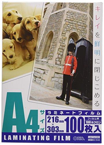 OHM 100ミクロンラミネーターフィルム100枚 A4 LAM-FA41003...