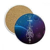 星空のトーテムの幾何学外国人 飲料用2ピースギフトセラミックコースターマグ、カップホルダ吸収ストーン