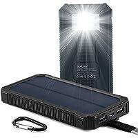 Soluser ソーラーチャージャーモバイルバッテリー 15000mAh大容量 急速充電器 iPhone/Android 2USB出力ポート LED照明 二つの充電方法 耐震 災害時/旅行/アウトドアに大活躍