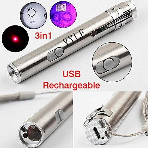 [해외]3 in1 500LM 미니 알루미늄 USB 충전식 LED UV 토찌�u & 손전등 다기능 램프/3 in 1 500 LM Mini Aluminum USB Rechargeable LED UV Torch Pen & Flashlight Multifunction Lamp