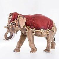 真紅の布をかぶった象 創業100年木彫りブランド《レーピ》木彫り カラーC 25cm【イタリア】