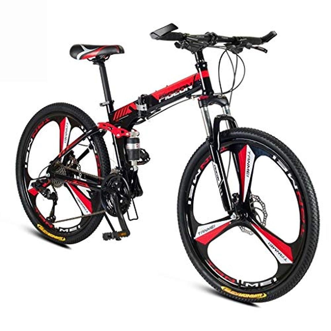 空虚よろめく雰囲気折りたたみマウンテンバイク、24/26インチ24/27/30スピードフロントとリアのディスクブレーキ、大人のマウンテン自転車レディースメンズトラベルアウトドアアジャスタブル自転車 (Color : Red, Size : 26inch)