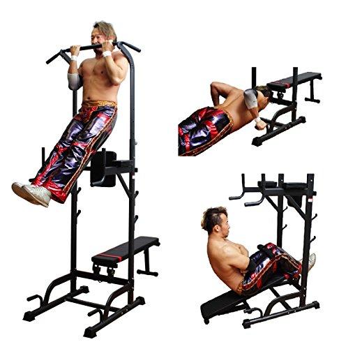 ベンチプレスも可能!(バーベルホルダー付)マルチエクササイズジム 耐荷重:110kg ぶら下がり 健康器 懸垂 背筋 筋トレ 健康 腕立 【幅:65㎝、高さ:165-235㎝、奥行:125-180㎝】