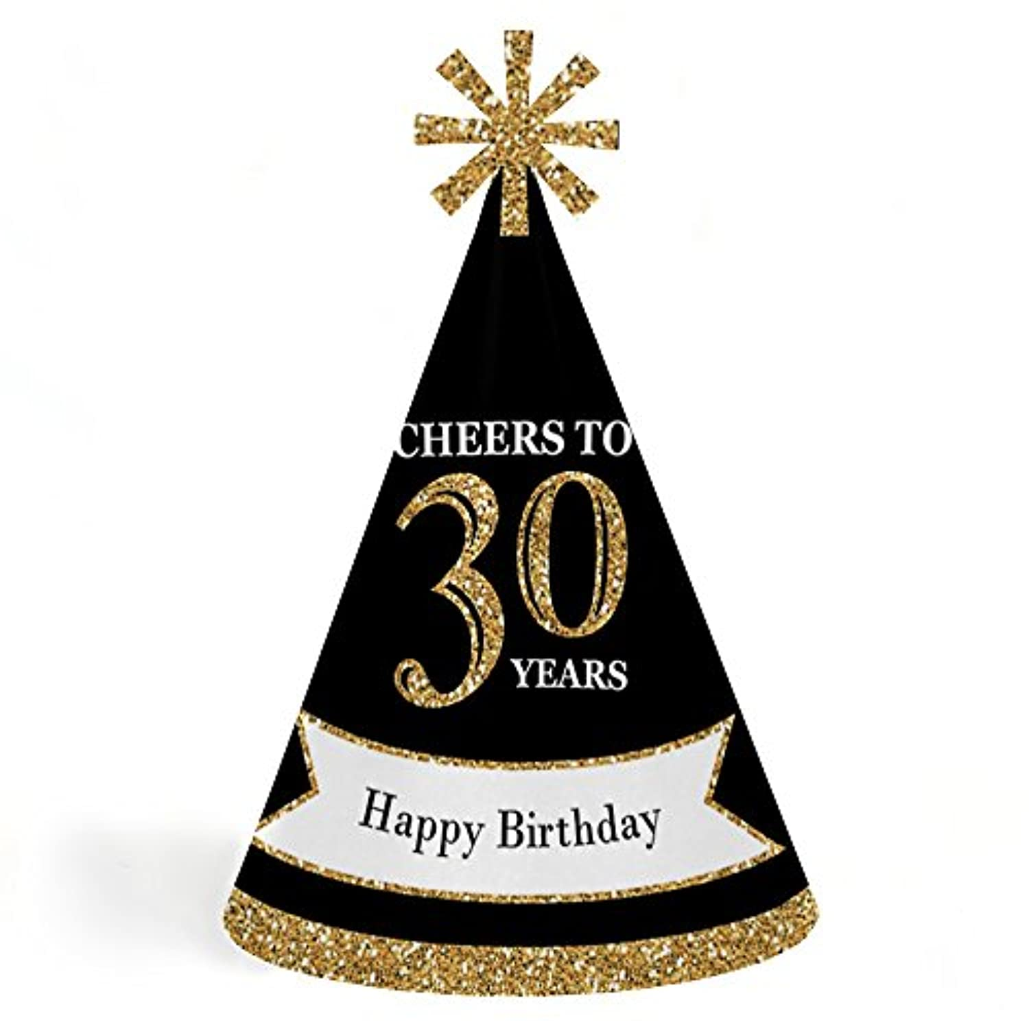 Adult 30th Birthday - Gold - Cone Birthday Party Hats - Set of 8 (Adult Size)