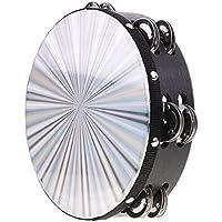 monkeyjackダブル行Jingle木製ポリエステルRadiant Tambourine手ドラムバンドAccompaniment 8.03 X 2.16インチ