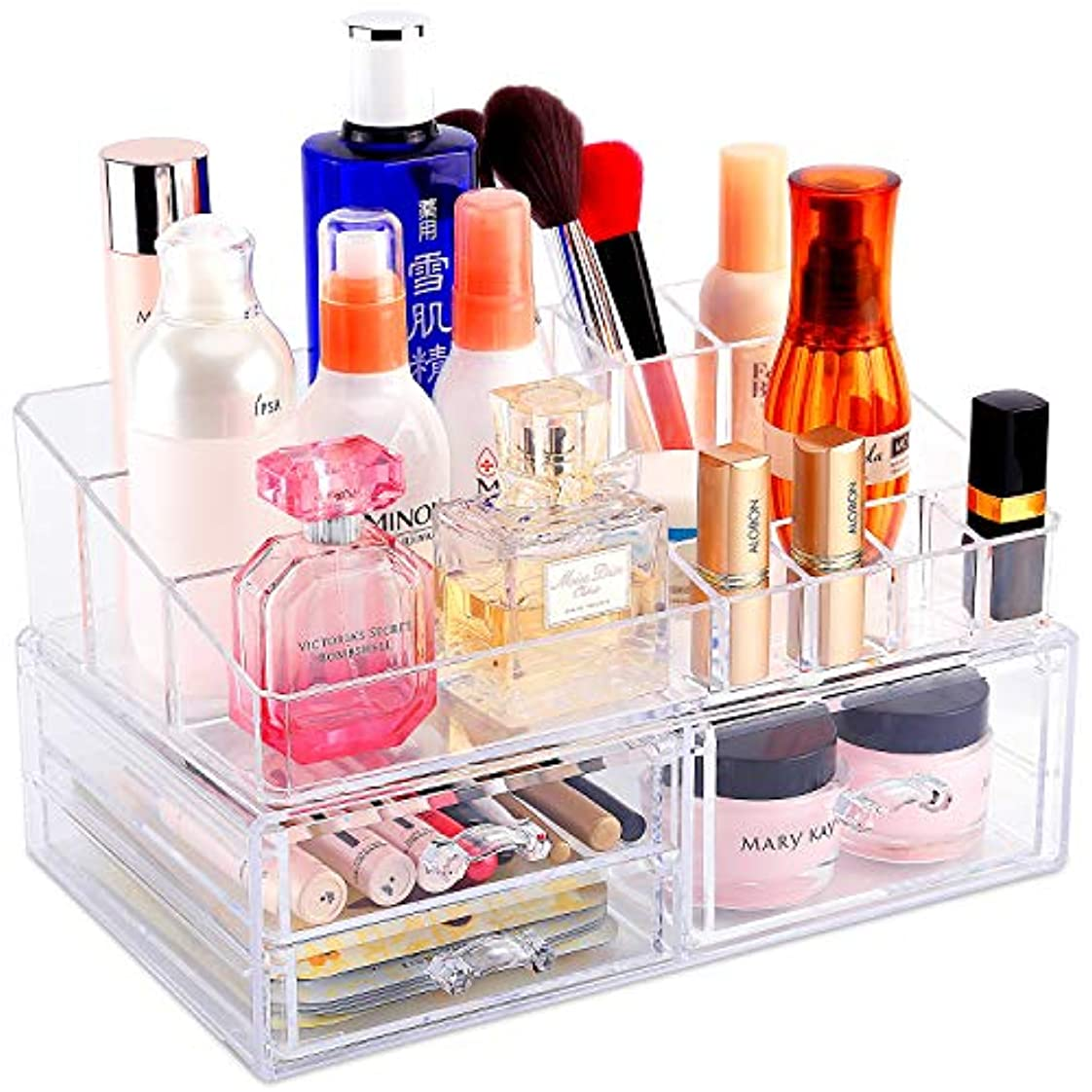 グラムテクニカル確かな化粧品収納ボックス メイクケース メイクボックス 大容量 騒音なし ジュエリー?アクセサリー収納 小物入れ 引き出し式 透明(二段式)