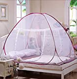 【ANION】ワンタッチ式蚊帳 折り畳み 両側ドア設計 赤ちゃん 大人 兼用 ムカデ 虫 蚊 対策蚊帳 ピンク 1.5m