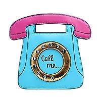 SODIAL 電話の形の女性のレトロクロスボディバッグ PUレザークラッチバッグチェーンバッグ(ブルー+ピンク)