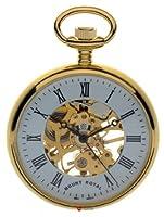 スケルトンオープンフェイス懐中時計ゴールドメッキとローマ数字 - 17ジュエル