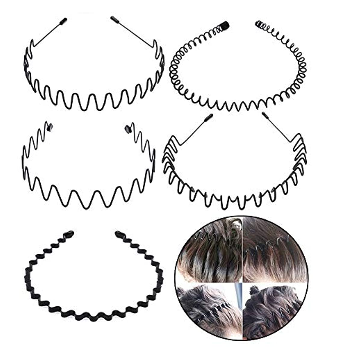 キャメル会計士意気込みシンプル ウェーブ カチューシャ 5種類セット ヘアバンド メンズ レディース 男女兼用 髪留め ヘアアクセサリー 黒