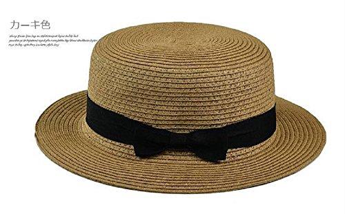 レディース ミックスペーパー ハット カンカン帽 春 夏 麦わら帽子 通気性 UVカット 帽子 ストローハット 軽い (カーキ)