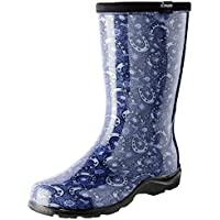 Sloggers Women's Waterproof Rain and Garden Boot with Comfort Insole, Horse Shoe Paisley Blue, Size 6, Style 5018HPBL06