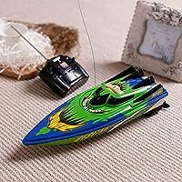 RCボート、リモートコントロールボートプール、湖、そして大人と子供向けのアウトドアアドベンチャーギフト用の高速電動RCレーシングボート(Blue And Green)