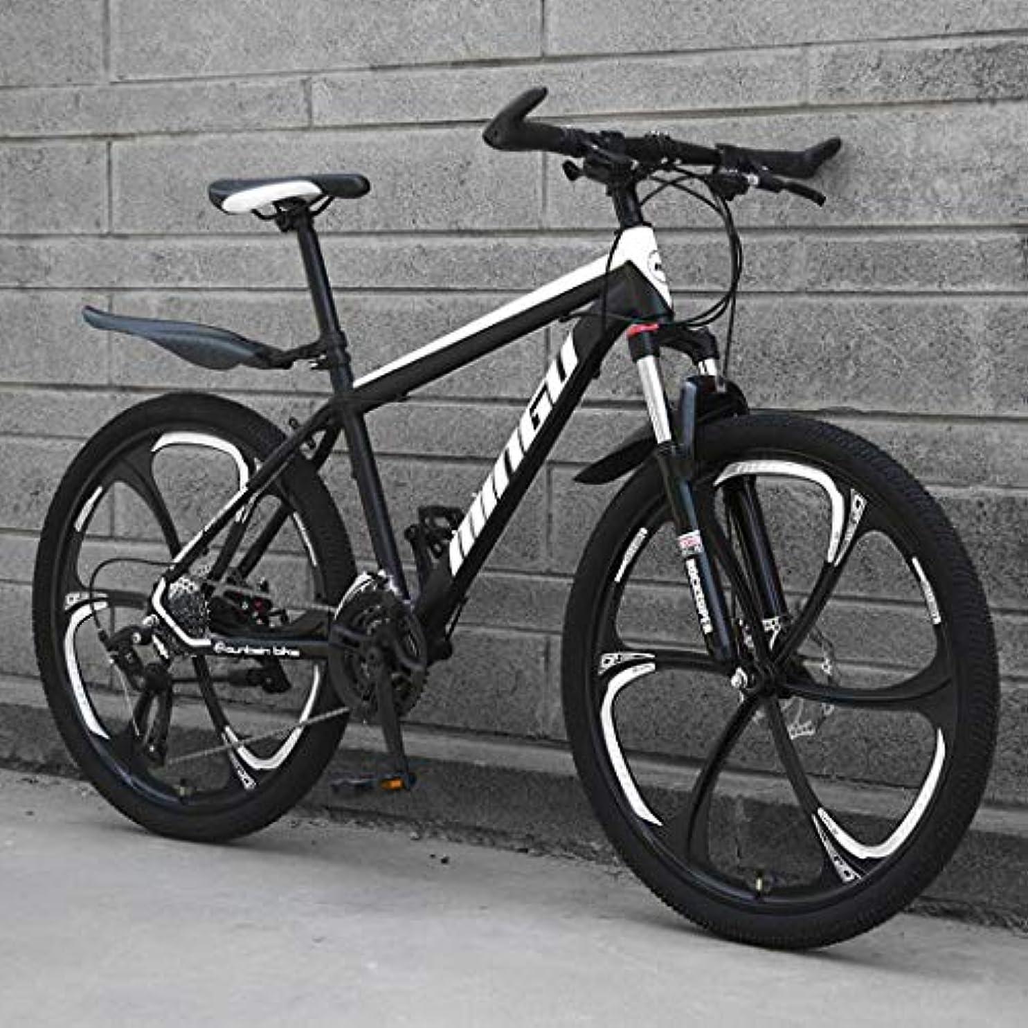 スペイン語離れて立ち向かうマウンテンバイク自転車24インチ フォークサスペンションダブルディスクブレーキの自転車 レーシングバイク 6つのカッターホイール付き 高炭素鋼フレーム