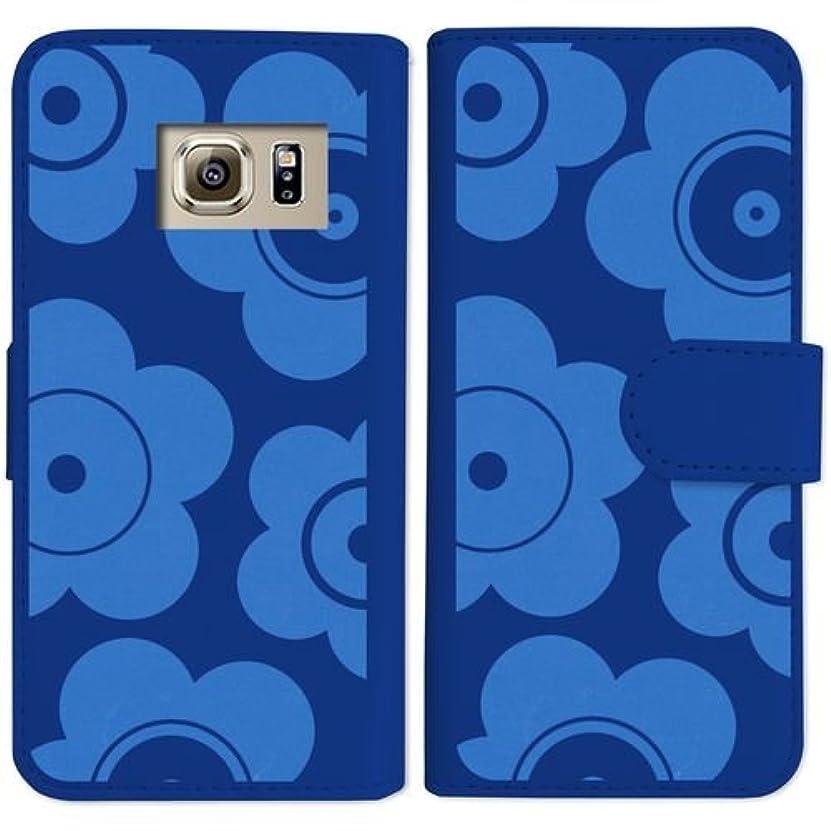 一緒ケントモードリンsslink SC-04G/SCV31/404SC GALAXY S6 edge ギャラクシー 手帳型 ダークブルー ケース t026-ブルー 花柄 マリメッコ風 ダイアリータイプ 横開き カード収納 フリップ カバー