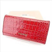 [ミュウミュウ] miu miu ジップ長財布 二つ折り財布 レディース クロコダイル型押し 中古 T748