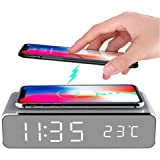 Hopkog LED Smart Alarm Clock Time Temperature Display Wireless Charging Pad Dock, 10W Qi-Certified for iPhone 11, 11 Pro Max,