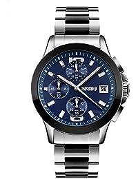 Timever(タイムエバー)メンズ 多機能 腕時計 多針アナログ表示 クロノグラフ カレンダー付き 生活防水 ビジネスウォッチ (ブルー)