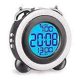 目覚まし時計 大音量 光 ベル ダブルアラーム スヌーズ 機能 LED バックライト デジタル 電池式 2つ アラーム 卓上 置き時計