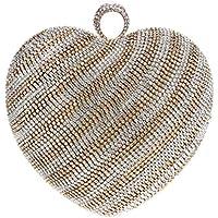 女性のクラッチダイヤモンドハート型のグラデーションイブニングバッグファッションの花嫁衣装の宴会クラッチパーティー/年次イベント/ナイトクラブ - 女性/少女のために使用することができます,Champagne,Onesize
