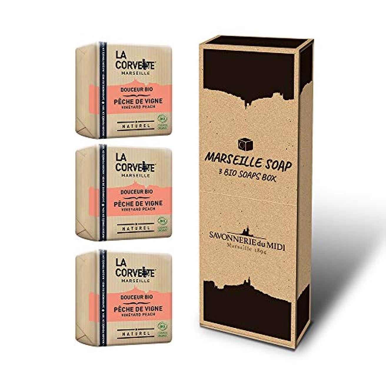 乳製品前進資格マルセイユソープ 3BIOSoaps BOX (ヴィンヤードピーチ)