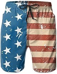 メンズヴィンテージ米国国旗 ビーチパンツ 水着 ハーフスイムウェアサーフパンツ ボードショーツ 水陸両用 吸汗速乾