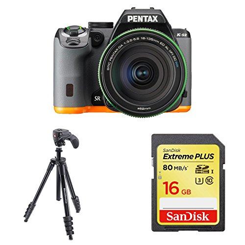 PENTAX デジタル一眼レフ PENTAX K-S2 DA18-135mmWRレンズキット (ブラック×オレンジ) + Manfrotto 三脚 COMPACT Action フォト・ムービーキット アルミ 5段 ブラック 他1点セット
