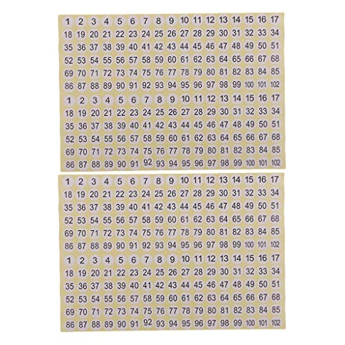 死にかけている老人何よりもP Prettyia 約30枚入り 番号 ステッカー 丸形 数字シール 白 付箋 番号付き ラベル 1-102 自己粘着