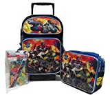 """Transformers Autobots Roll Out Large 16"""" RollingバックパックRoller Wheeled Bookバッグ、3d FXランチボックス& Stationeryセット"""