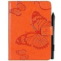 携帯電話 ケース・カバー, 花の花のバタフライデザインPUレザータブレットスタンドケースAmazonのKindle Paperwhite 4(10世代-2018)6.0インチ (色 : オレンジ)